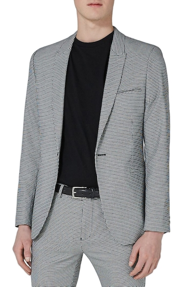 Imbracaminte Barbati TOPMAN Ultra Skinny Fit Houndstooth Suit Jacket GREY MULTI