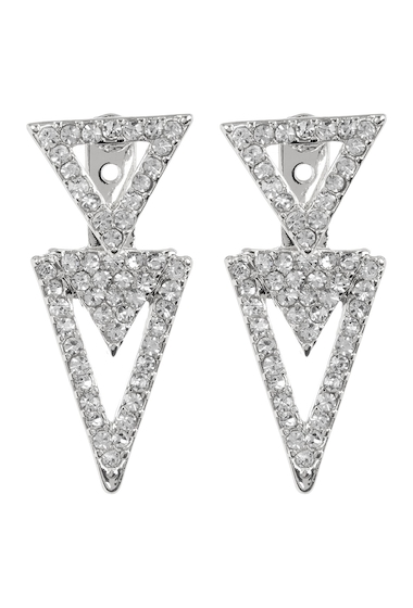 Bijuterii Femei Vince Camuto Pave Crystal Accent Triangle Front to Back Stud Earrings SILVER 01