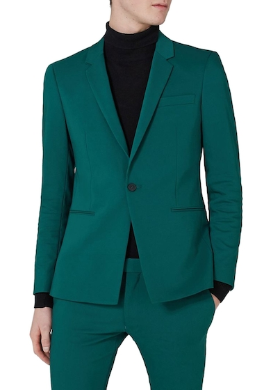 Imbracaminte Barbati TOPMAN Ultra Skinny Fit Suit Jacket TEAL