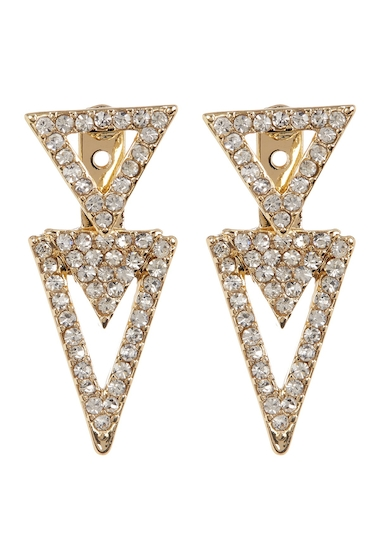 Bijuterii Femei Vince Camuto Pave Crystal Accent Triangle Front to Back Stud Earrings GOLD 01