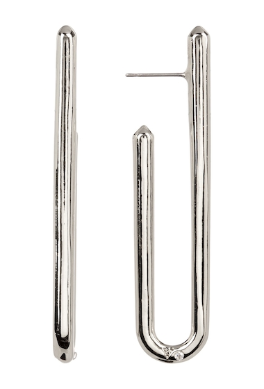 Bijuterii Femei Vince Camuto Narrow Curved J Hoop Earrings SILVER 01