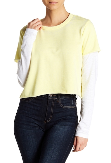 Imbracaminte Femei Alternative Apparel 2-Fer Long Sleeve Pullover LEMON YELLOWWHITE
