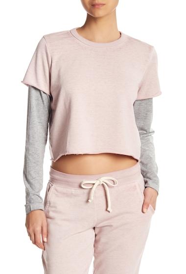 Imbracaminte Femei Alternative Apparel 2-Fer Long Sleeve Pullover ROSE QUARTZHEATHER GREY