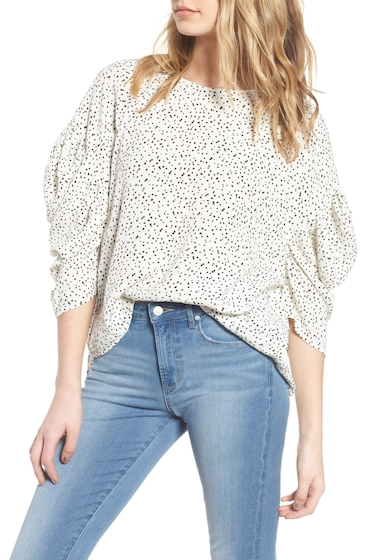 Imbracaminte Femei Leith Ruched Sleeve Top IVORY BTTN DOTS