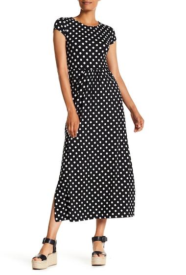 Imbracaminte Femei Velvet Torch Cap Sleeve Maxi Dress BLK IVORY DOT
