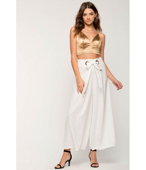 Imbracaminte Femei CheapChic Tie Front Metal Wide Leg Pant White
