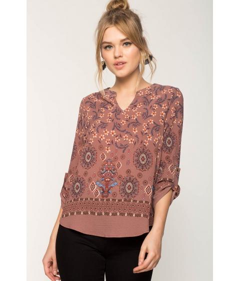 Imbracaminte Femei CheapChic Rebecca Border Shirt FuchsiaPink Print