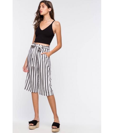 Imbracaminte Femei CheapChic Sail Away Stripe Tie Front Culottes WhiteBlack Pattern