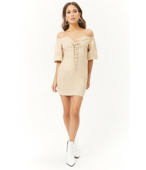 Imbracaminte Femei Forever21 Lace-Up Off-the-Shoulder Mini Dress TAUPE