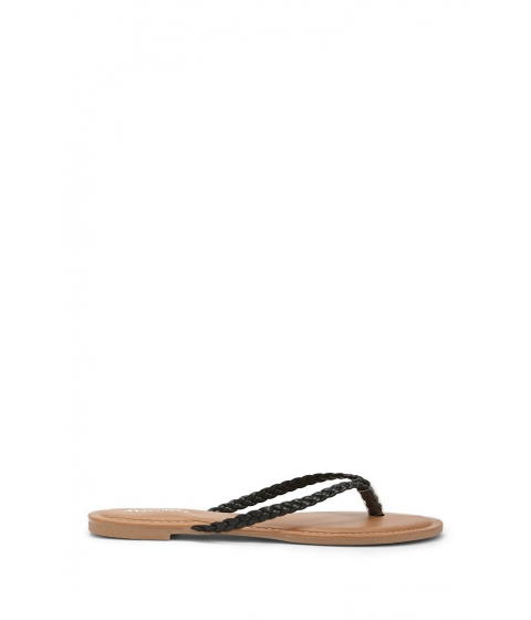 Incaltaminte Femei Forever21 Faux Leather Braided Thong Sandals BLACK