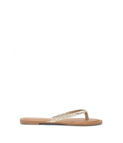 Incaltaminte Femei Forever21 Faux Leather Braided Thong Sandals GOLD