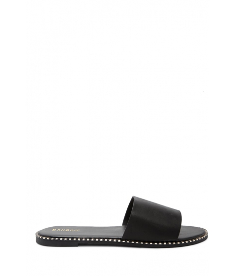 Incaltaminte Femei Forever21 Metallic-Accent Faux Leather Slide Sandals BLACK