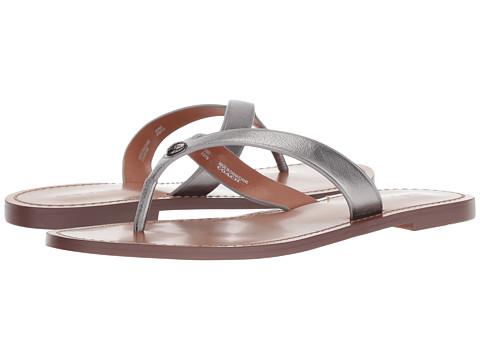 Incaltaminte Femei COACH Thong Sandal Gunmetal Metallic Leather