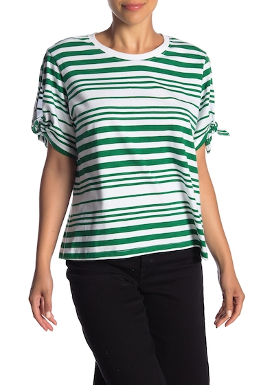 Imbracaminte Femei Abound Striped Tie Sleeve Tee GRN VRDT AWNG ST