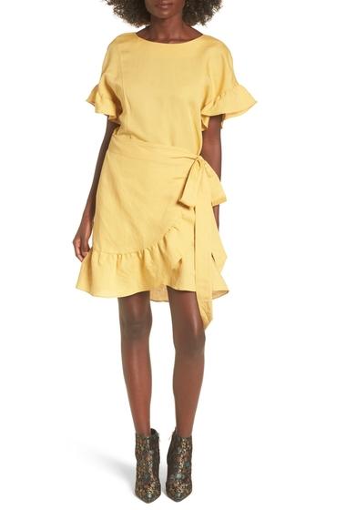 Imbracaminte Femei ASTR the Label Ruffle Linen Blend Wrap Dress YELLW MNRL