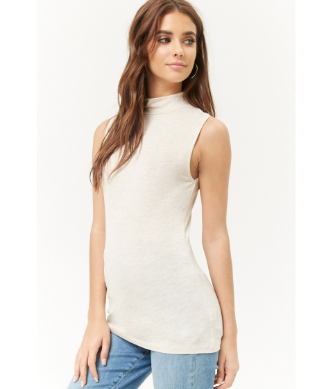 Imbracaminte Femei Forever21 Sleeveless Mock Neck Top BEIGE