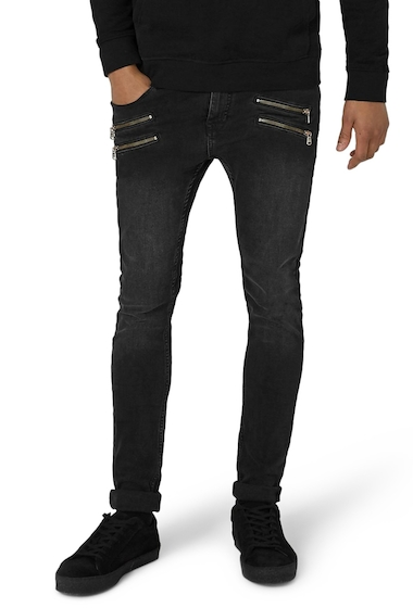Imbracaminte Barbati TOPMAN Double Zip Spray-On Jeans BLACK