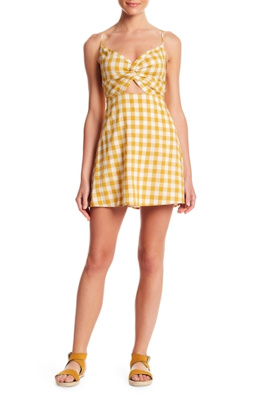 Imbracaminte Femei Honey Punch Front Twist Keyhole Gingham Print Dress YELLOW