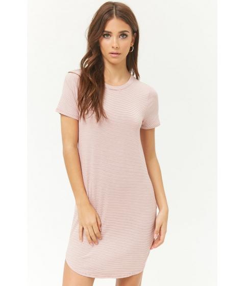 Imbracaminte Femei Forever21 Striped T-Shirt Dress MAUVECREAM