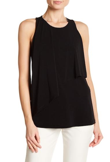 Imbracaminte Femei Ellen Tracy Embellished Neck Draped Sleeveless Blouse BLACK