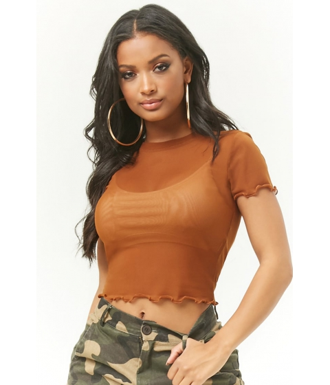 Imbracaminte Femei Forever21 Lettuce-Edge Sheer Mesh Top BROWN