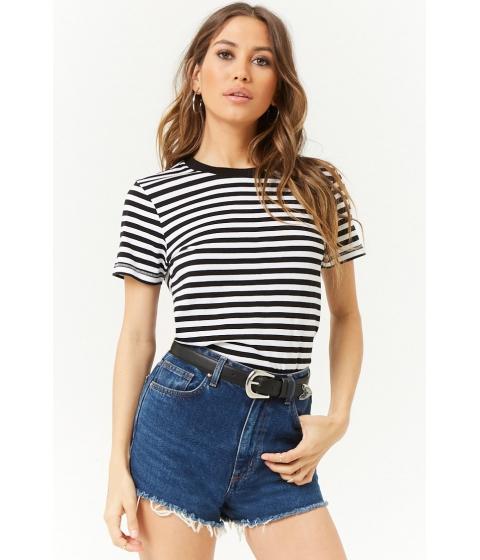 Imbracaminte Femei Forever21 Boxy Striped Tee BLACKWHITE