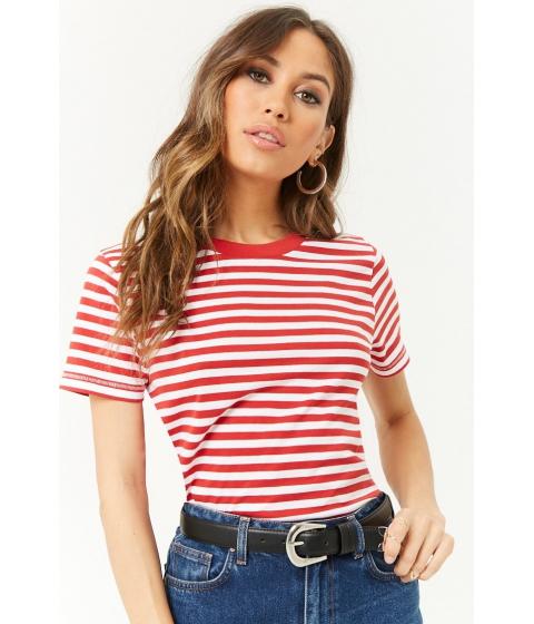 Imbracaminte Femei Forever21 Boxy Striped Tee REDWHITE