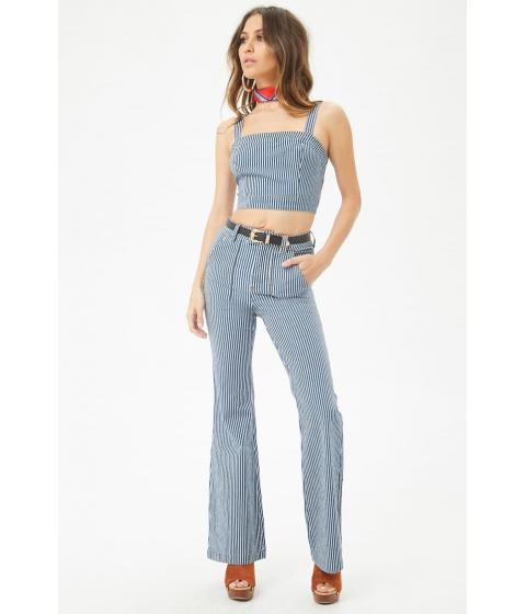 Imbracaminte Femei Forever21 Pinstriped Flare-Leg Jeans DENIMWHITE