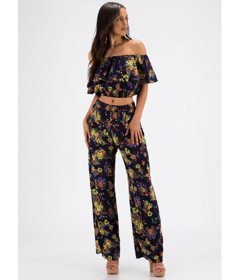 Imbracaminte Femei CheapChic Great Gardens Floral Top And Pant Set Navy