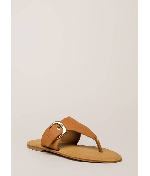 Incaltaminte Femei CheapChic Vacation Time Buckled Thong Sandals Tan