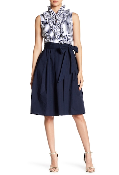 Imbracaminte Femei Eliza J Ruffle Top Circle Skirt NAVY WHITE