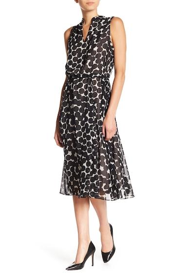 Imbracaminte Femei AK Anne Klein Drawstring Waist Dot Midi Dress BLACKOYSTER SHELL