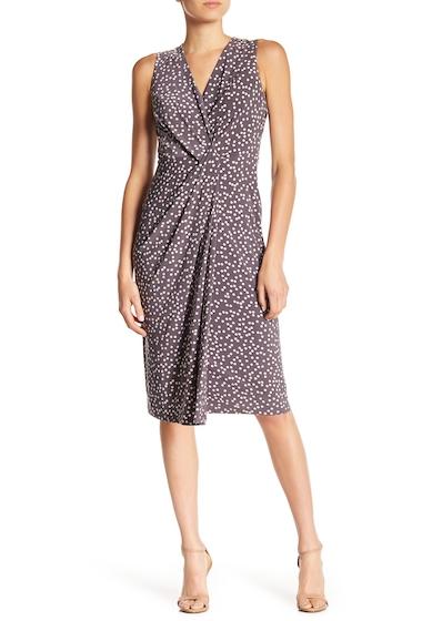 Imbracaminte Femei AK Anne Klein Dot Print Wrap Midi Dress NANTUCKET GREY OYSTER SHELL