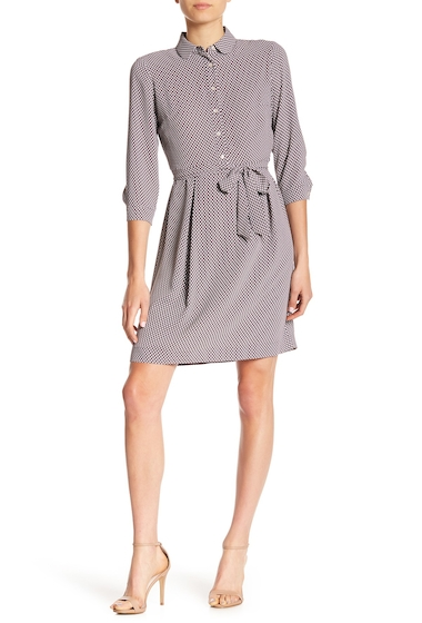 Imbracaminte Femei AK Anne Klein Waist Tie Shirt Dress NANTUCKET GREY PARCHMENT