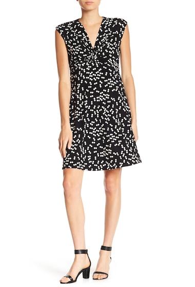Imbracaminte Femei AK Anne Klein Dot Print Twist Front Dress BLACK PARCHMENT
