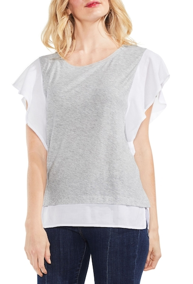 Imbracaminte Femei Vince Camuto Ruffle Sleeve Top GREY HEATHER