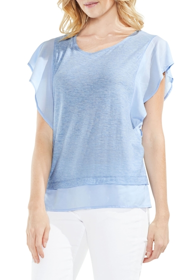 Imbracaminte Femei Vince Camuto Ruffle Sleeve Top LT CHAMBRAY HEATHER