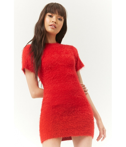 Imbracaminte Femei Forever21 Fuzzy Knit Mini Dress RED