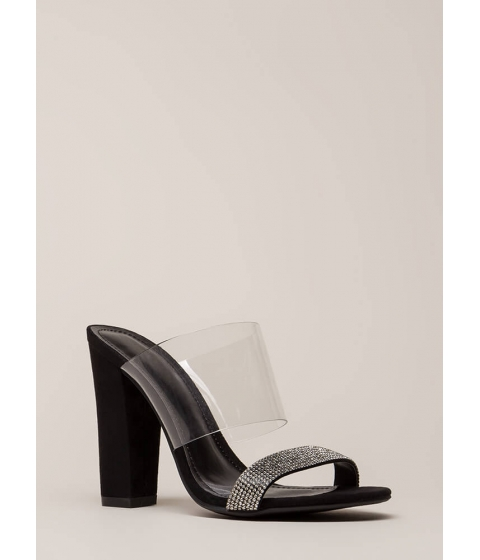 Incaltaminte Femei CheapChic Naked Glory Clear Jeweled Mule Heels Black
