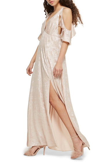 Imbracaminte Femei TOPSHOP Cold Shoulder Foil Maxi Dress NUDE MULTI