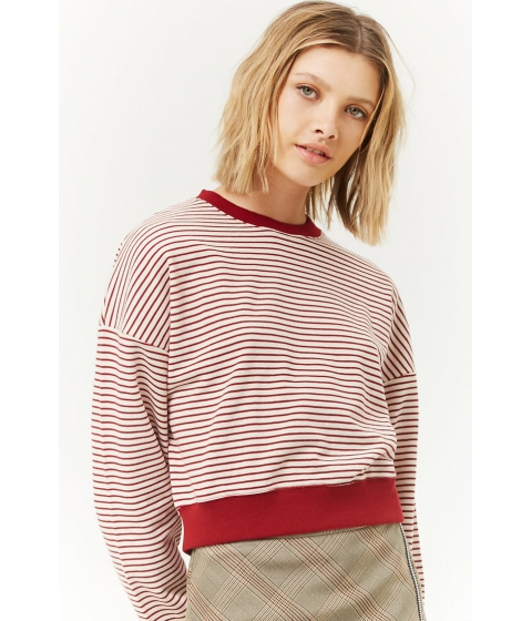 Imbracaminte Femei Forever21 Striped French Terry Sweater CREAMBURGUNDY