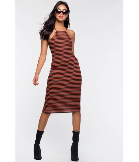 Imbracaminte Femei CheapChic Stormi Stripe Halter Column Dress Rust