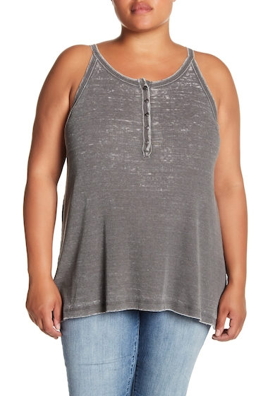 Imbracaminte Femei Melrose and Market Ribbed Henley Faded Swing Tank Plus Size GREY URBAN