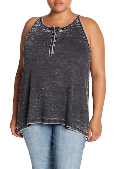Imbracaminte Femei Melrose and Market Ribbed Henley Faded Swing Tank Plus Size BLACK