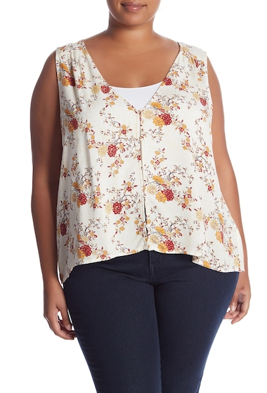 Imbracaminte Femei Melrose and Market V-Neck Button Front Tank Top Plus Size WHITE SNOW WASHED FLORAL