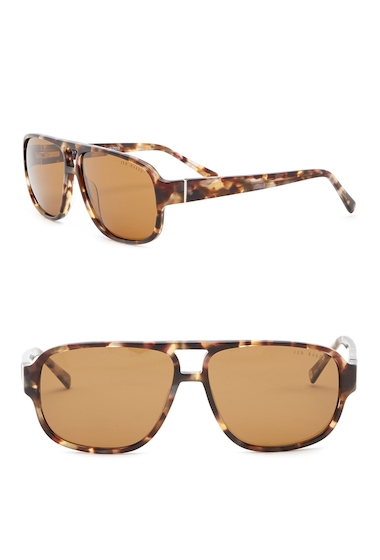 Ochelari Barbati Ted Baker London 60mm Navigator Sunglasses HAVANA