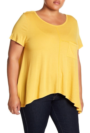 Imbracaminte Femei Melrose and Market Seam Detailed Pocket Tee Plus Size YELLOW MINERAL