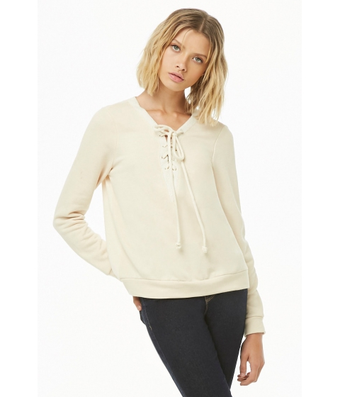 Imbracaminte Femei Forever21 French Terry Lace-Up Pullover CREAM
