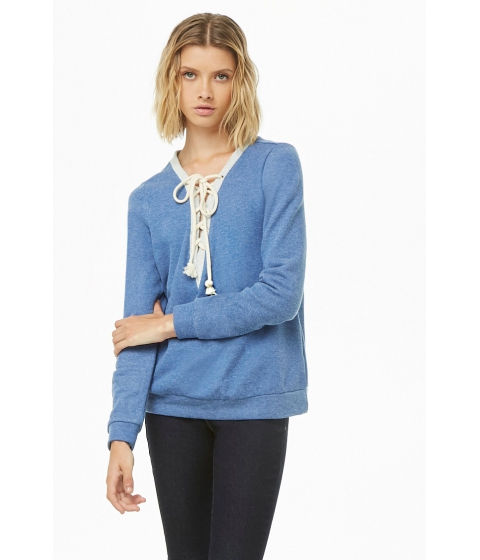 Imbracaminte Femei Forever21 French Terry Lace-Up Pullover BLUE