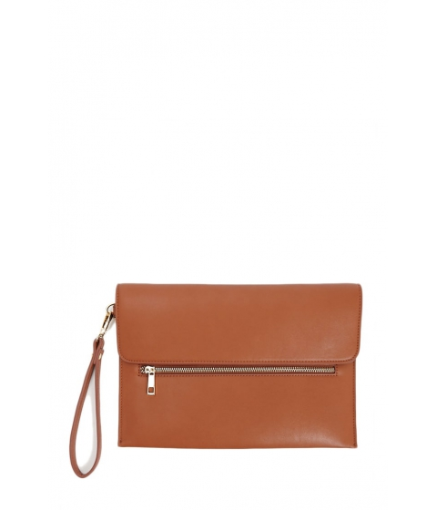 Genti Femei Forever21 Faux Leather Pouch Clutch BROWN